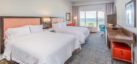 Hampton Inn Pensacola Beach Hotel Room | Double Queen Beachfront Featured Image